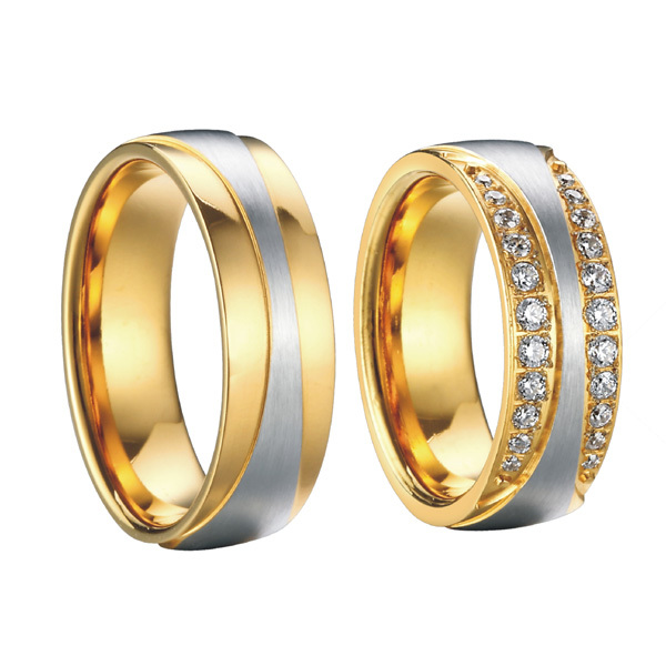 anel ouro vintage 18k gold plating cz diamonds engagement wedding lord of the rings pair sets for women and men king and queen - Men And Women Wedding Ring Sets