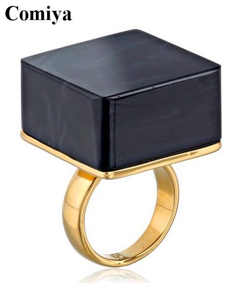 2015 iya New Fashion Gold Metal Wedding Band Ring with Black