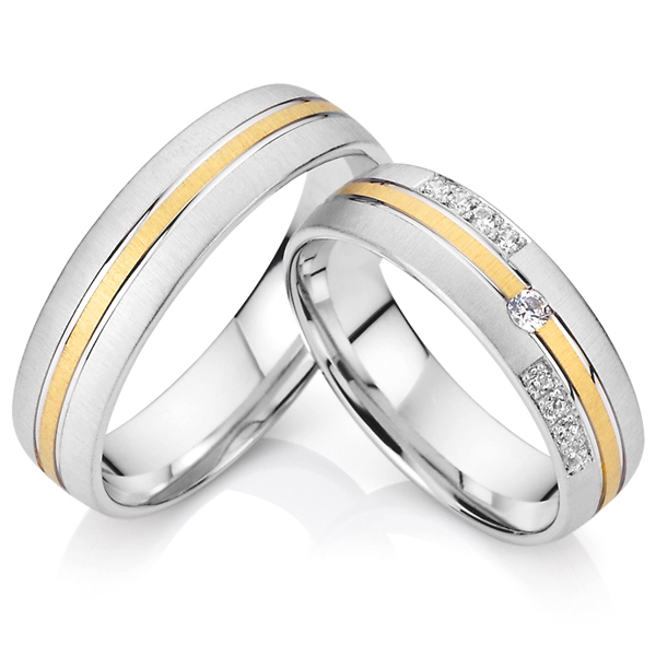 Pure Anium Cz Diamond Engagement Wedding Rings Pair Men And Women White Gold Color With 18k Yellow Plated Inlay