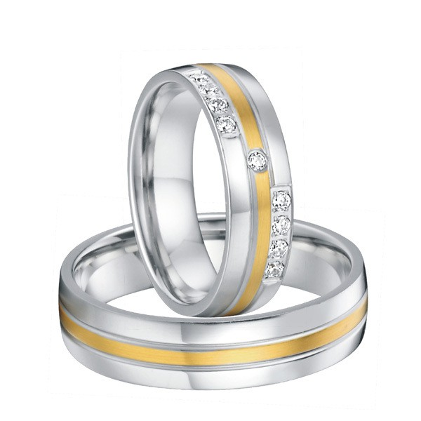 Pure Titanium CZ Diamond Engagement Wedding Rings Pair Men And Women White Gold Color With 18k Yellow Plated Inlay