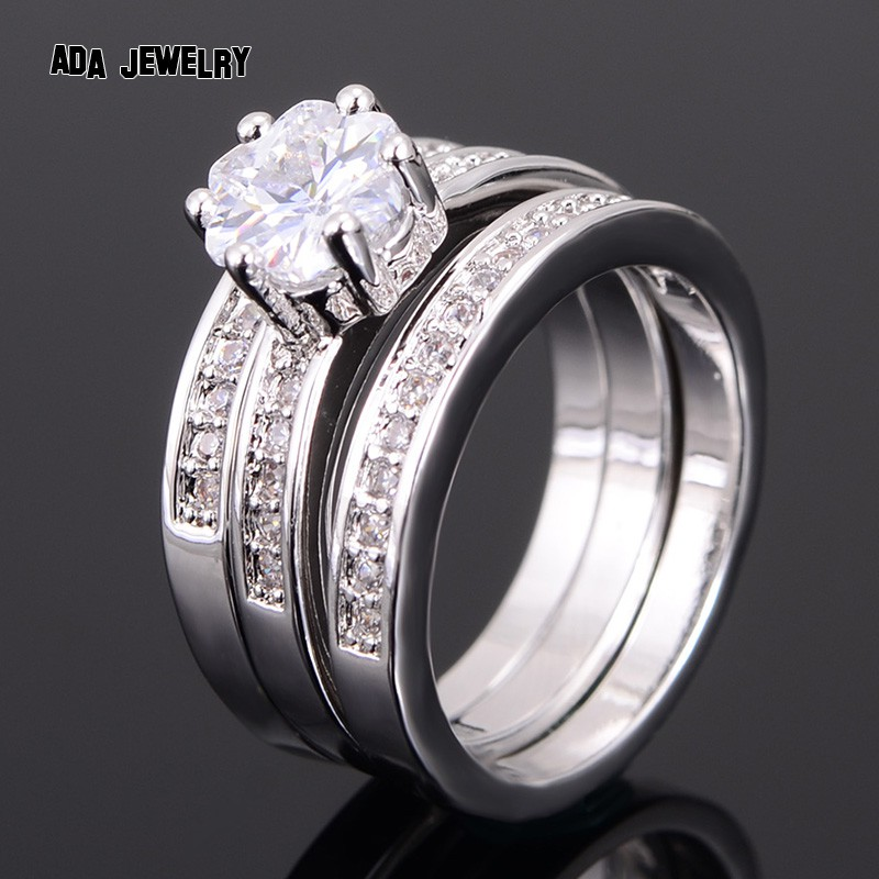 3 Circles High Quality Eternal Flower CZ Diamond Ring Lovers Set White Gold Engagement Wedding Rings For Women Couple Jewelry