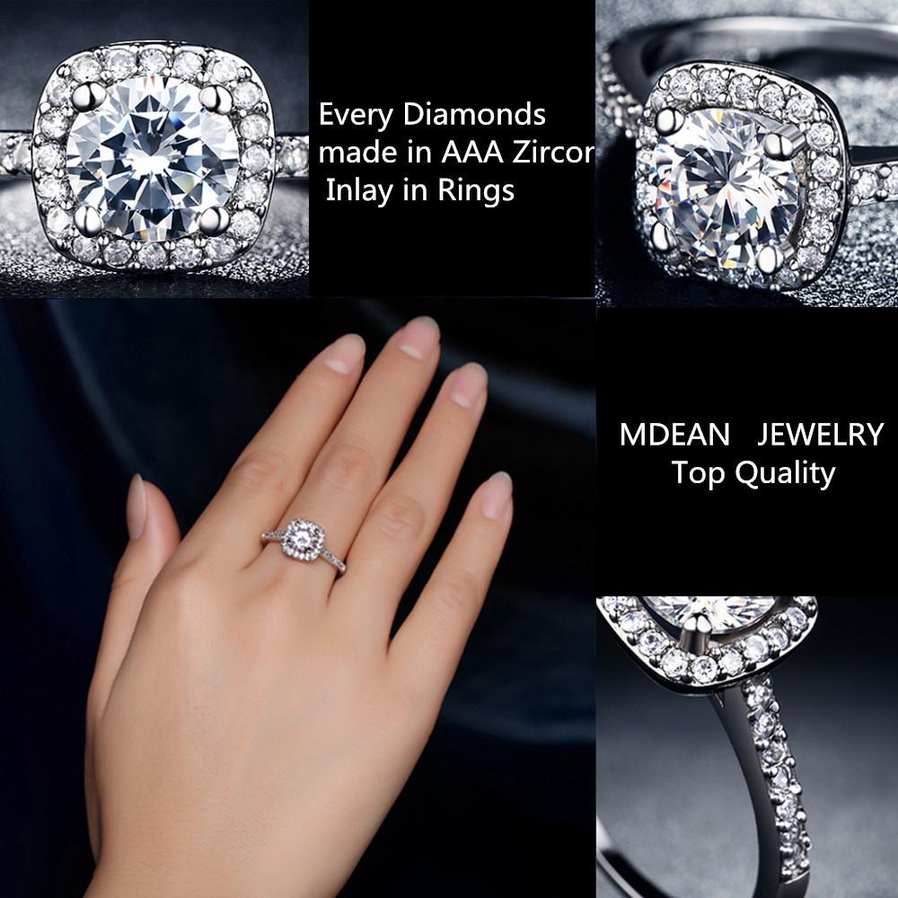 Wedding Rings For Women Square Diamonds Simulator Ring Bague Bijoux