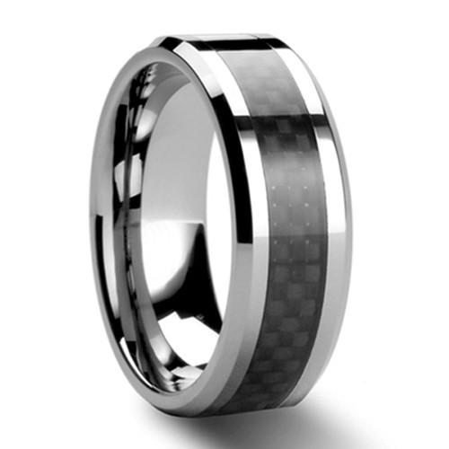 Black Carbon Fiber Tungsten Carbide Ring Mens Wedding Band Size 6 12 Nr05bc