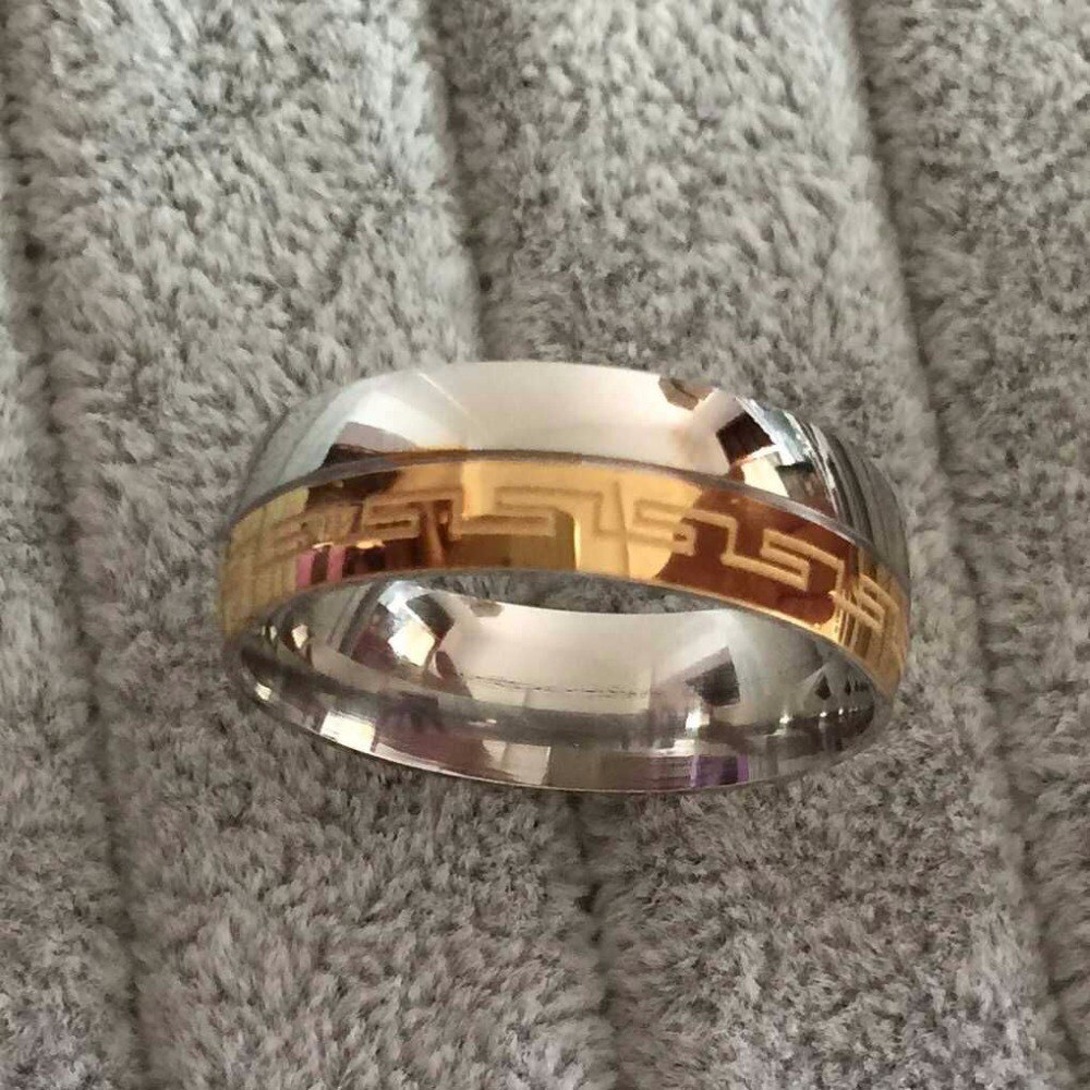 Brand Luxury Large 8mm Silve Gold Plated Two Tone Wedding Band Rings Greek Key Anniversary
