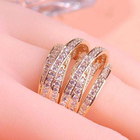 rings finger white engagement feather gold inlay peacock dress rose party product plated colorful rhinestone ring