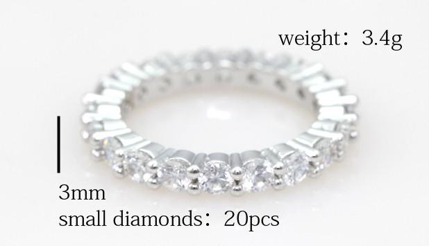 Eternity Wedding Band Full Simulated Diamonds Wedding Rings for
