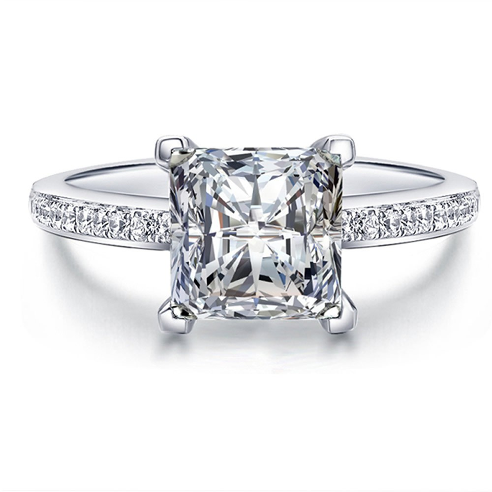 Fine Princess Cut Created Diamond Solid Real 925 Sterling Silver Jewelry Engagement  Ring Set Wholesale