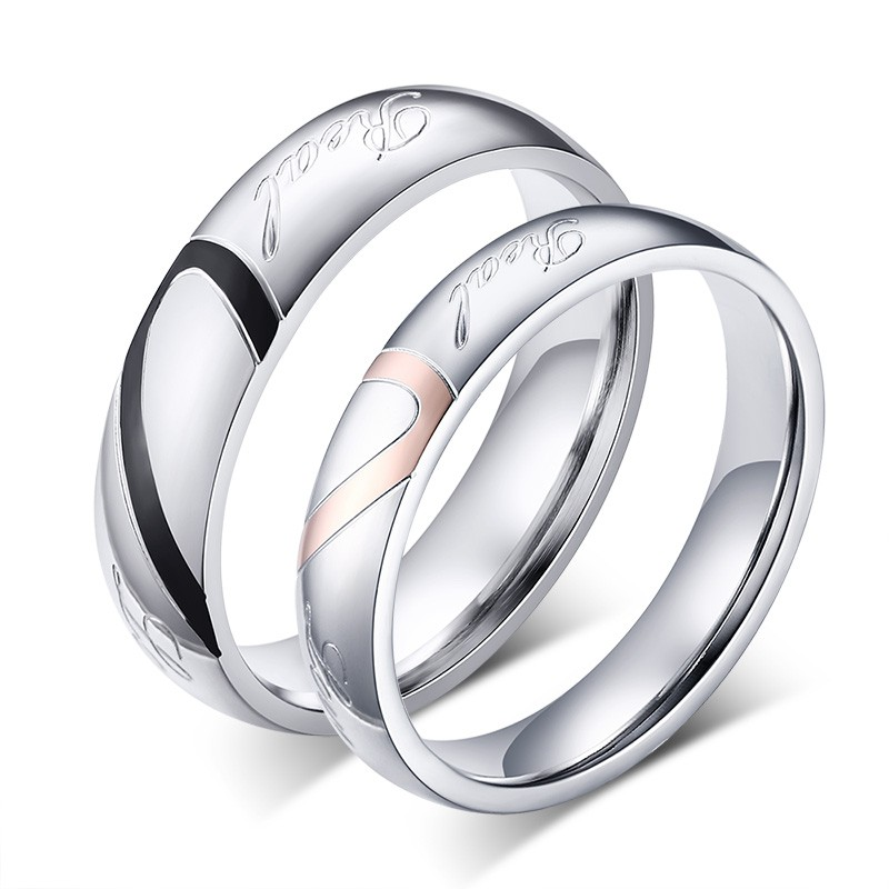 fashion heart ring his and her promise rings sets stainless steel couple ring for men and women wedding ring - Men And Women Wedding Ring Sets