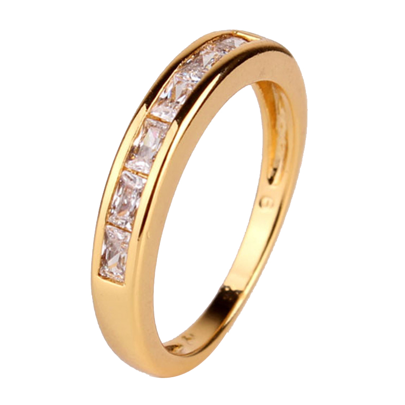 2014 24K Gold Plated Round Clear White Crystals CZ Band ...