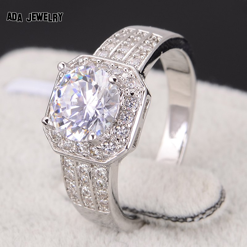 zircon rings for women wedding ring big crystal jewelry engagement rings o wedding bands rhodium plated square new 2014 - Women Wedding Ring