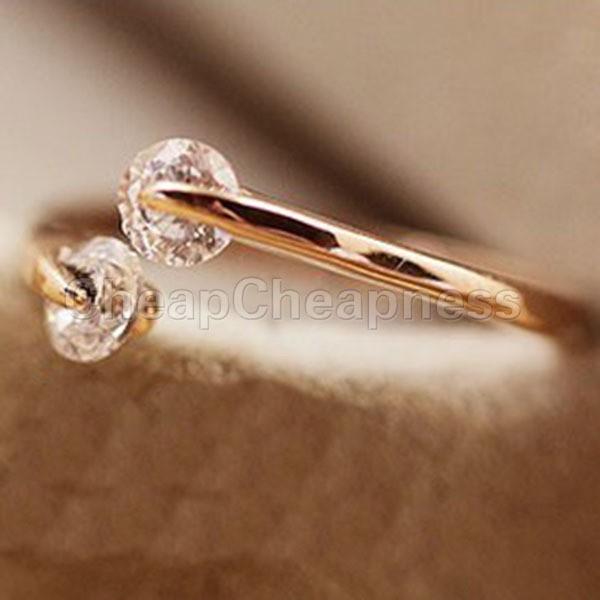 fashion women 18k rose gold gp crystal engagement wedding band ring open mouth ring