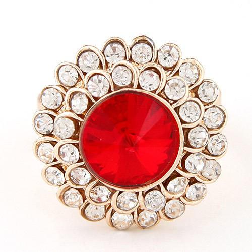 Fine Jewelry Punk Big Round Imitated Diamond Rings for Women Gold