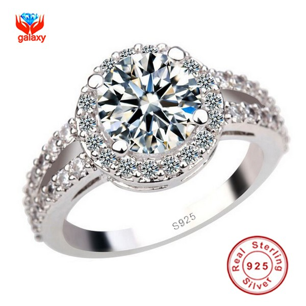 Galaxy Luxury 925 Silver Engagement Ring With S925 Stamp 3 Carat Cz Diamond Wedding Rings For Women Size Us 4 5 6 7 8 9 10 Yh091
