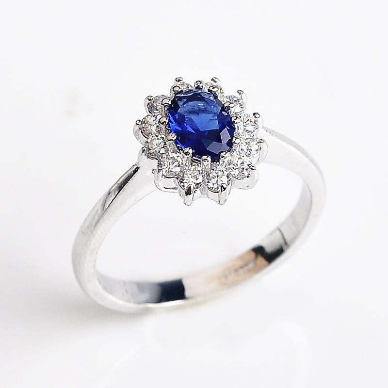 Luxury Palace Princess Diana Blue Stone Wedding Rings 18k Gold