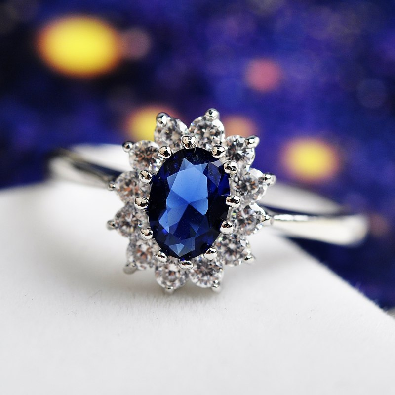 Princess Diana Wedding Ring.Luxury Palace Princess Diana Blue Stone Wedding Rings 18k Gold Plated Made With 100 Austria Crystals Anillos Anel Joias Ouro