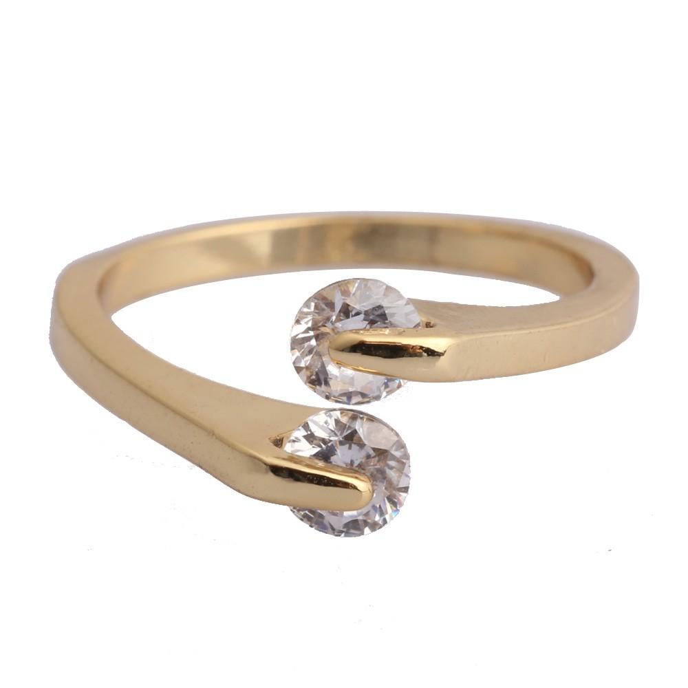 New # Trendy Italian Women Crystal Engagement Ring 18K Gold Filled ...