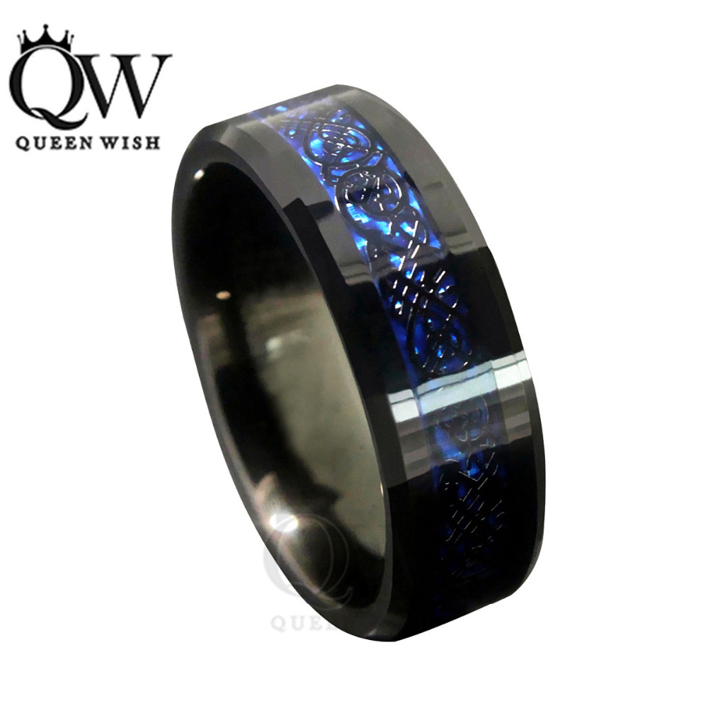 Queenwish 8mm Blue Black Silvering Celtic Dragon Tungsten