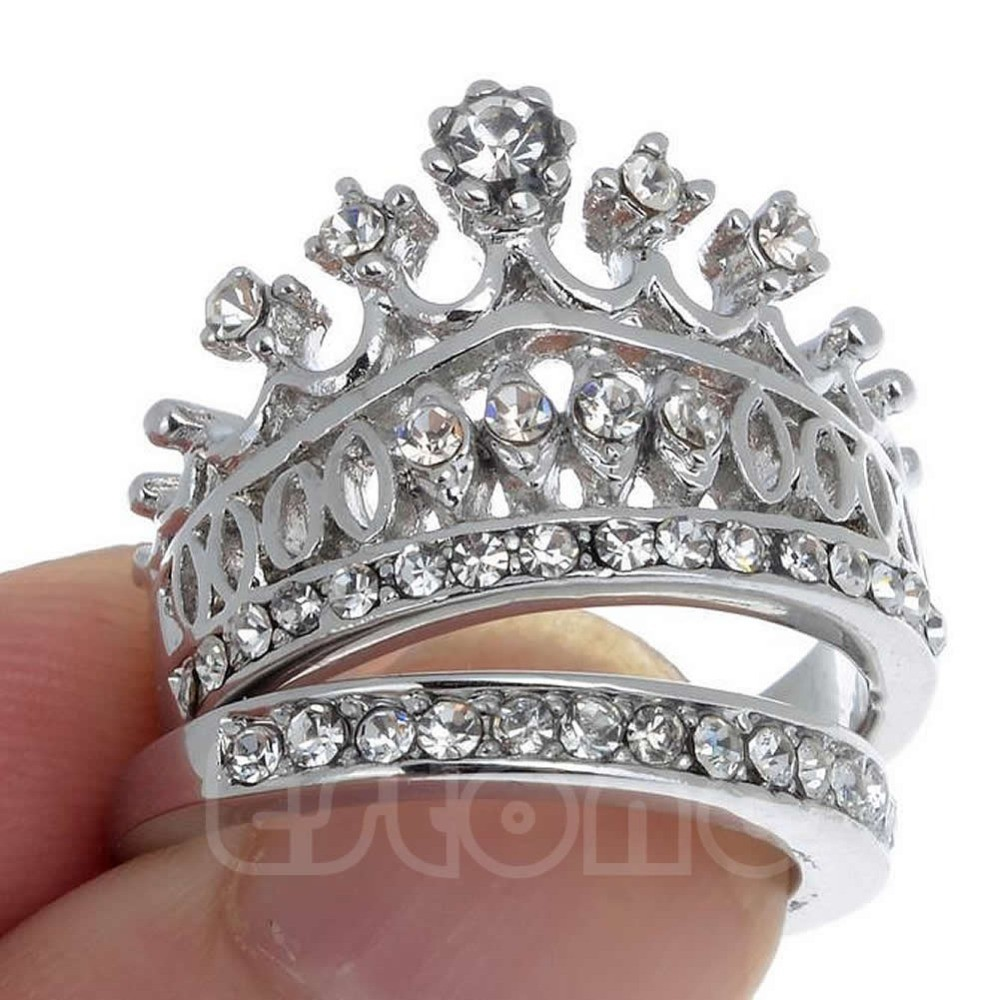 retro women white sapphire gem lady silver crown wedding band ring set size 5 8 - Crown Wedding Ring