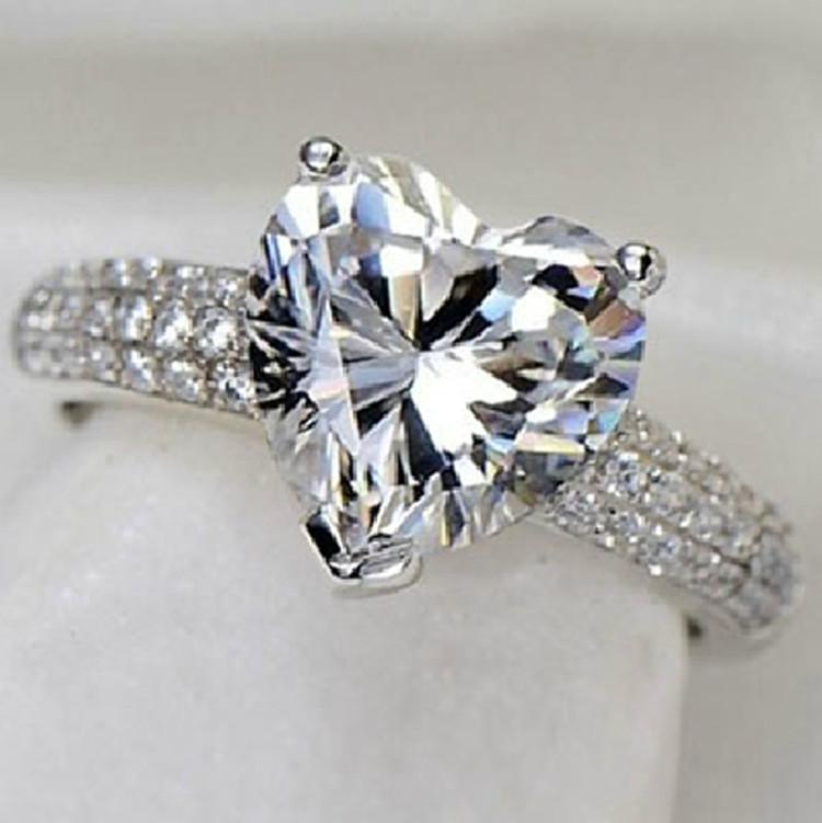 s925 sterling silver jewelry heart ring cz diamond wedding