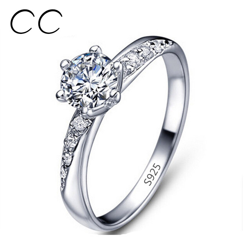 White gold plated ring Wedding bands engagement ring 925 sterling ...