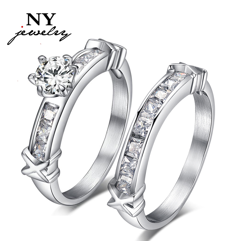 Women Wedding Rings Stainless Steel CZ Diamond Rings Set For Women Wedding  Jewelry Christmas Gift RC 046