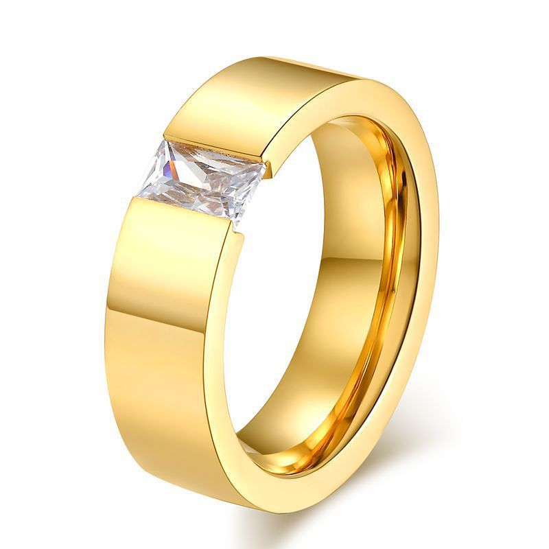 gold filled Fashion wedding rings for men and women stainless steel