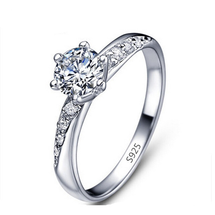 s925 white gold zircon engagement ring 925 sterling silver