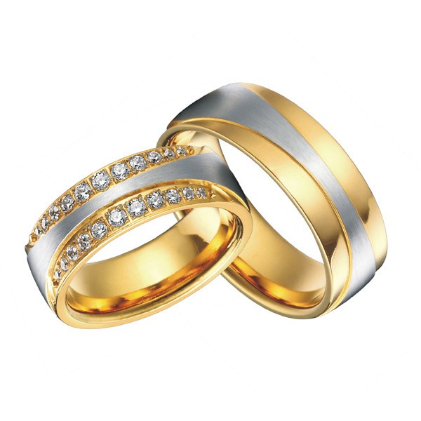 luxury 18k gold plating health titanium jewelry engagement wedding bands promise rings sets for men and women alliance anel
